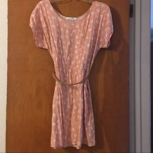 Blush pink cherry dress with tan belt and POCKETS!